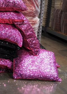 Pink sparkly pillows.