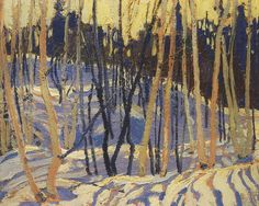 Tom Thomson Snow oil on panel. Group Of Seven Artists, Group Of Seven Paintings, Contemporary Landscape, Landscape Art, Landscape Paintings, Oil Paintings, Landscapes, Painting Snow, Winter Painting