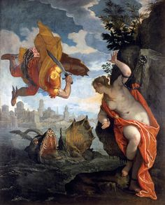 Paolo Veronese (Italian [Renaissance, Mannerism] Perseus Rescuing Andromeda, Oil on canvas, 260 x 211 cm. Museum of Fine Arts, Rennes. Renaissance Kunst, Renaissance Paintings, Italian Renaissance, Venetian Painters, Greek And Roman Mythology, Norse Mythology, Greek Gods, Art Ancien, Italian Painters