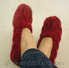 Knitting Pattern - One-Skein Quick-Knit Slippers from SweaterBabe.com