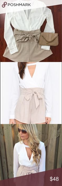 White and tan romper We are obsessed with this gorgeous romper. This romper feature a keyhole neckline, long sleeves with buttons, a stylish sash and a hidden zipper.  -Top 100% polyester  -Bottoms- 73% polyester-20% Rayon- 3% spandex   - wearing size small Pants Jumpsuits & Rompers