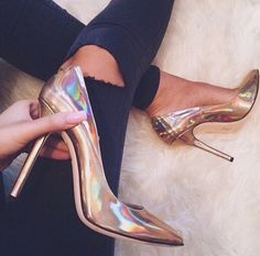 Gold Silver Hologram High Heels from Fashion Struck