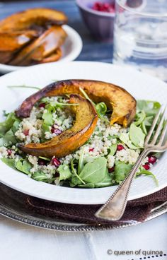 Arugula Salad with Quinoa, Pomegranate & Roasted Squash