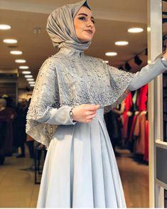 Image may contain: 1 person Hijab Evening Dress, Hijab Dress Party, Hijab Style Dress, Dress Outfits, Fashion Dresses, Hijab Chic, Muslimah Wedding Dress, Hijab Wedding Dresses, Modest Bridesmaid Dresses