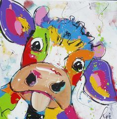 Burn out cow - www.vrolijkschilderij.nl