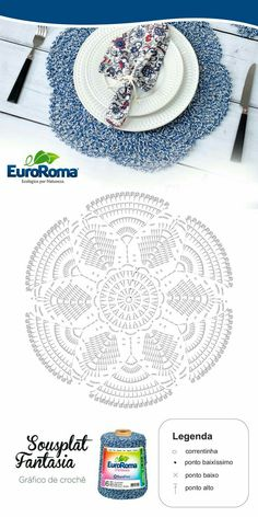 Ideas for crochet patrones ganchillo carpetas Crochet Doily Diagram, Crochet Mandala Pattern, Crochet Chart, Crochet Stitches, Crochet Patterns, Crochet Dollies, Crochet Flowers, Crochet Placemats, Crochet Home