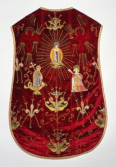 Chasuble - Opus anglicanum embroidery on silk velvet ground; embroidery with metallic threads - England - 1480-1500