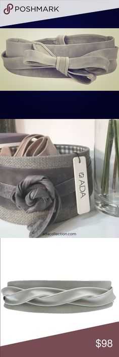 Dove Grey Ada Wrap Belt. Timeless! Sold out in most stores! So versatile & flattering. Soft, supple leather wraps around in many ways to create many looks. Soft Dove Grey  NWOT Ada Accessories Belts