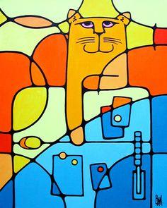 "Freddy On The Fridge - 24"" x 30"" acrylic on canvas -SOLD"