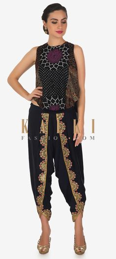 Featuring navy blue front short and back long top in crepe with center panel in bandhani print. It comes with round neckline and sleeveless. Long Tops, Capri Pants, Navy Blue, Neckline, Crop Tops, Free Shipping, Link, Stuff To Buy, Dresses