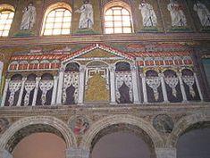 El palacio del rey ostrogodo Teodorico en Rávena, siglo VI. Representado en los mosaicos de San Apolinar el Nuevo.