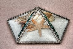 Stained glass bevelled hexahedron beachcape microcosm with shells, starfish, coral and decorative solder finish