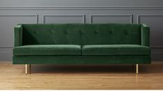 Shop Avec Emerald Green Apartment Sofa with Brass Legs. Parisian lines. Inspired by a French flea market find, this sofa's long slim lines are scaled just right for smaller spaces. Living Room Furniture, Modern Furniture, Home Furniture, Selling Furniture, Living Rooms, Furniture Logo, Furniture Online, Furniture Ideas, Emerald Green Sofa