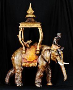 19th Century Italian Polychrome Elephant with Pagoda and Keeper | Decorative Arts & Fine Antiques - DAFA