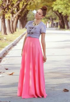 how to style maxi skirt and tshirt - Google Search