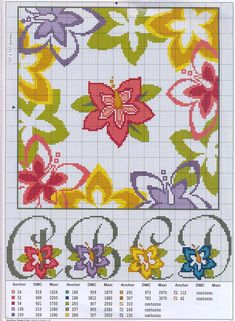 an alphabet with flowers that has plain lower case letters too Free Cross Stitch Charts, Cross Stitch Borders, Cross Stitch Alphabet, Cross Stitch Flowers, Cross Stitching, Cross Stitch Patterns, Diy Embroidery, Cross Stitch Embroidery, Needlework