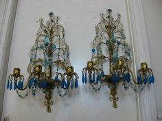 OMG Pair Old Vintage Wall Sconces Candleholders Beaded Swags Aqua Blue Crystals | eBay
