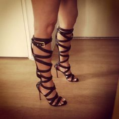 leather lace up gladiator thigh high boots open toe boots | Shoes ...