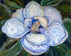"""Magnificent Magnolias/calligraphy ' The following words from Sura Baqarah are inscribed in Arabic within the petals of the flower:   """"So remember Me; I will remember you. And be grateful to Me and do not deny Me.""""(2:152)"""