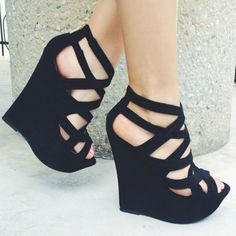 Black Open Toe Platform Wedges