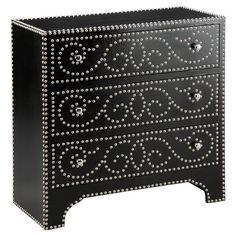 Three-drawer chest with a nailhead scroll motif and polished chrome hardware.  Product: ChestConstruction Material: ...