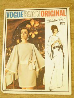 Sewing Pattern Vogue 2175 Vintage 1960s Christian Dior Designer Dress, size 14,