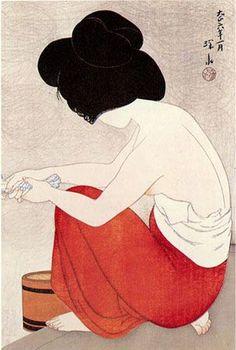 After the Bath , 1917 Itō Shinsui 伊東 深水,(1898-1972), pseudonym of a Nihonga painter and ukiyo-e woodblock print artist in Taishō, leading figure shin-hanga art movement