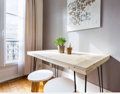 Table en bois avec hairpin legs noirs #mydiy #homemade
