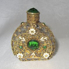 "Vintage Czech Mini Jeweled Perfume Green Stones 2 1 4"" Tall   eBay"