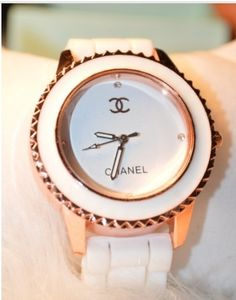 Inspired Chanel Watch, Women's Watch, White and Rose Gold, Ladies Watch, Designer Watch.
