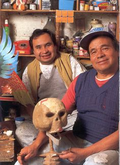 Mexican Masters & Artists - Leonardo Linares (on the right) is grandson of Don Pedro Linares, creator of the alebrije art form in 1936.  He will be at the Feria Maestros in Chapala November 16, 2013 selling his paper mache creatures - plan to be there - for more on Mexico visit www.mainlymexican... #Mexico #Mexican #folk art #artisan #alebrije #Feria Maestros #Chapala