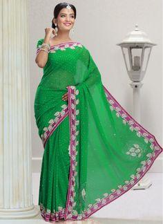 Baronial Chiffon Silver Zardosi Green Designer Wedding Saree