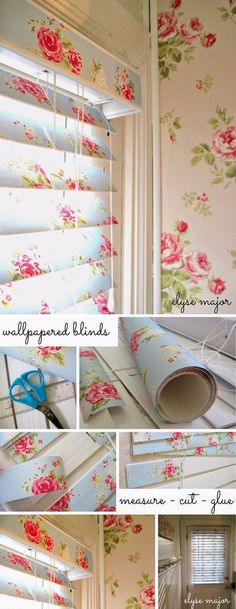 Shabby Chic Wallpaper Covered Blinds.                                                                                                                                                                                 More