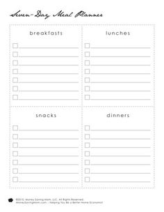 Printable menu plan - less rigid than most by not including days of the week. Perfect!