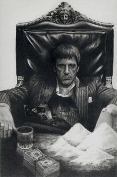 Al Pacino in Scarface, who was Tony Montana, was the kingpin of drug trafficking in Miami. Scarface Quotes, Scarface Poster, Scarface Movie, Al Pacino, Arte Do Hip Hop, Gangster Tattoos, Chicano Tattoos, Gangster Movies, Creation Art