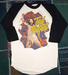 Vintage 1981 Ted Nugent Raglan style 3/4 sleeve tour shirt. Very pre-owned condition.  Has a light stain near the back neck - see photos