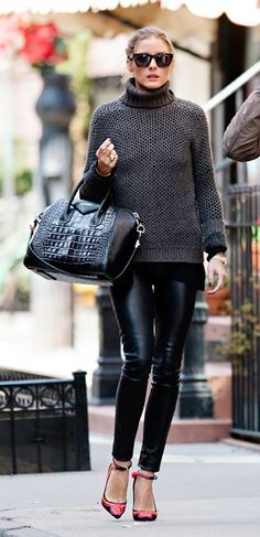 Olivia Palermo | leather skinnies, sweater