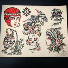 Traditional Tattoo Sketches, Traditional Tattoo Flowers, Traditional Tattoo Design, Tattoo Flash Sheet, Tattoo Flash Art, Rose Tattoos, Black Tattoos, Sailor Jerry Tattoo Flash, Traditional Tattoo Flash