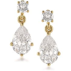 Carolee 12K Goldplated Brass Pear Drop Pierced Earrings ($34) ❤ liked on Polyvore featuring jewelry, earrings, gold, gold plated jewelry, gold plated earrings, brass jewelry, pear earrings and gold plated brass jewelry