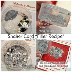 "Shaker card ""filler recipe"" with glitter, sequins and mica flakes from Stampin' Up! by Patty Bennett"