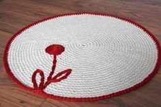 Hand crochet rug, Girls room rug,