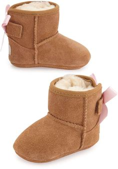 UGG Australia Jesse Suede Boot w/ Bow, Chestnut, Infants' Sizes 0-18 Months