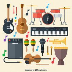 Instrumentos musicais Vetor grátis
