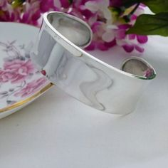 Wide Ladies Silver Torque Bangle with Shinny Dish Shaped Surface