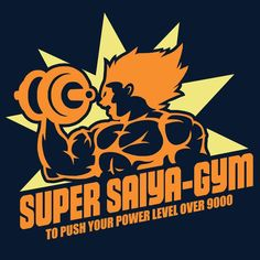 """Super SaiyaGym"" by Baz is $10 today at ShirtPunch.com (09/23). #tshirt #DragonBallZ #DBZ #SuperSaiyan #Saiyans #Vegeta #Fitness #Gym #WeightLifting"