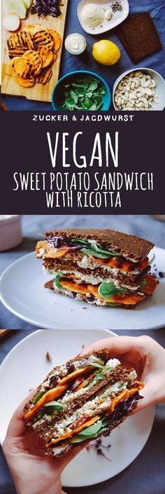 Perfect for your vegan picnic: SWEET POTATO SANDWICH WITH VEGAN HORSERADISH CASHEW RICOTTA