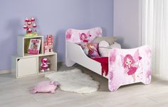 """Pat pentru copii """"Happy Fairy"""", White / Pink, 140 x 70 cm Pink Bedding, Toddler Bed, Fairy, Modern, Furniture, Design, Home Decor, Kids Rooms, Products"""