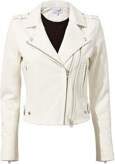 IRO Dylan White Leather Moto Jacket