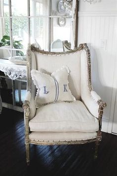 Lovely French chair in linen with nailhead tacking