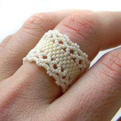 Cream Beaded Ring Delicate Seed Bead Ring Band by Anabel27shop
